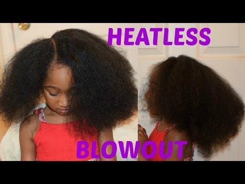 KIDS NATURAL HAIRSTYLES: Heatless Blowout(African Threading)
