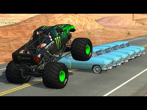 Beamng drive - Monster Truck Crashes, crushing cars, jumps, fails #2