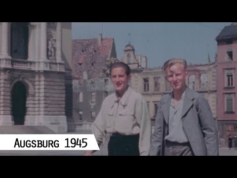 Augsburg in 1945 - American troops in the city center (in color and HD)
