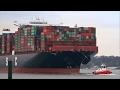 UASC 400 m Container Ship AL NEFUD - Port of Hamburg / Elbe River