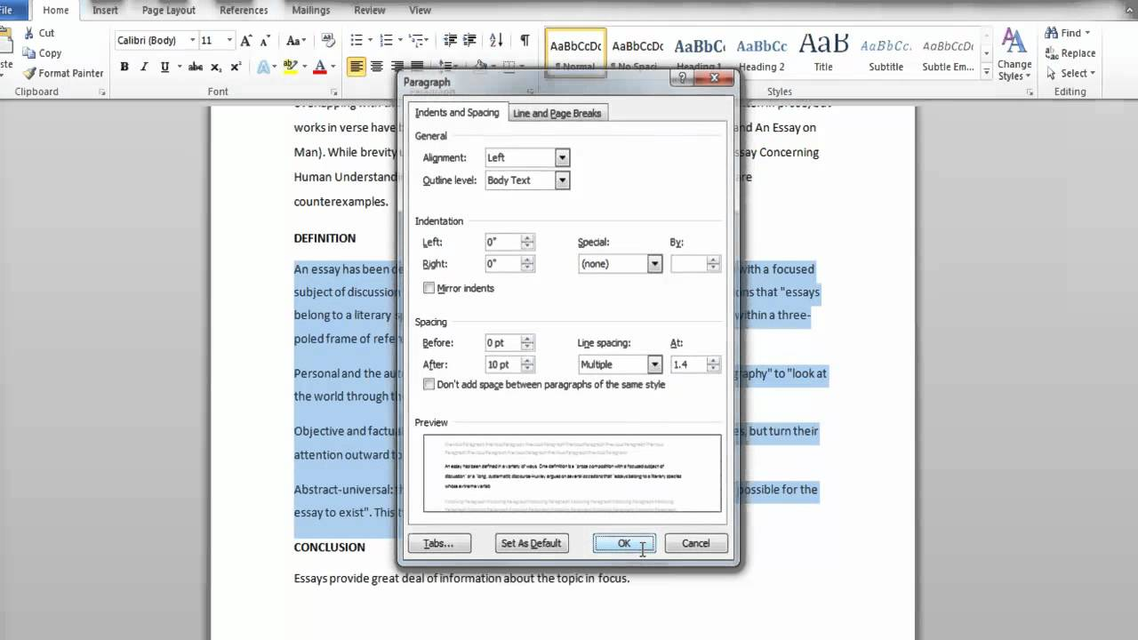 How to Change the Line Spacing in Microsoft Word 2010