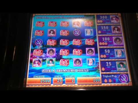 MERMAID'S GOLD Penny Video Slot Machine with a TREASURE CHEST BONUS Las Vegas Strip Casino