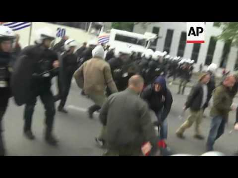 Protesters and police clash at Brussels rally