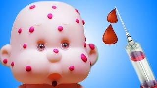 Мультик Куклы Пупсики Лечим Ветрянку Видео для Девочек Доктор делает укол  Играем в Дочки матери