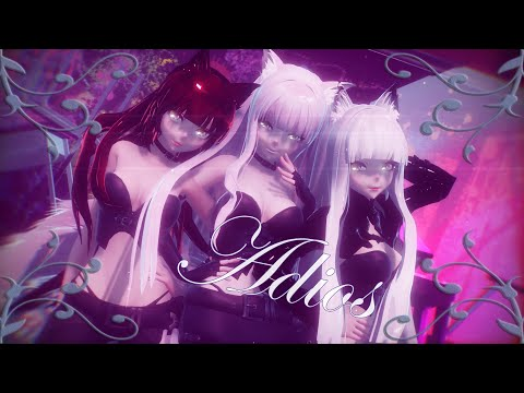 MMD Ƹ̵̡Ӝ̵̨̄Ʒ  EVERGLOW /Adios - Nikita Kitsune, Lady Mugen & Ember Kitsune