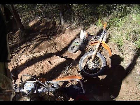 Motorbike Trail Riding at Glasshouse Mountains QLD Australia. KTM EXC-f 350 and KTM EXC300