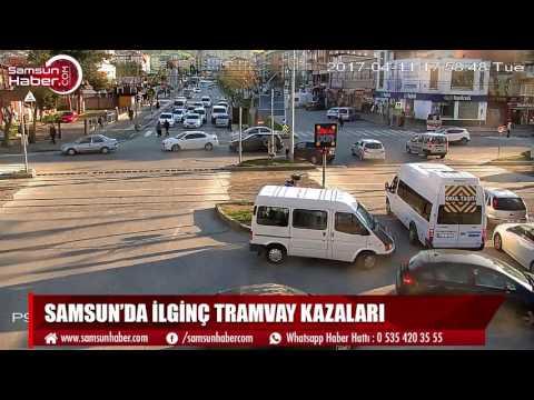 Samsun'da yaşanan ilginç tramvay kazaları