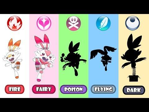 Scorbunny Poison, Fairy, Dark And Flying Type - Pokemon Type Swap.