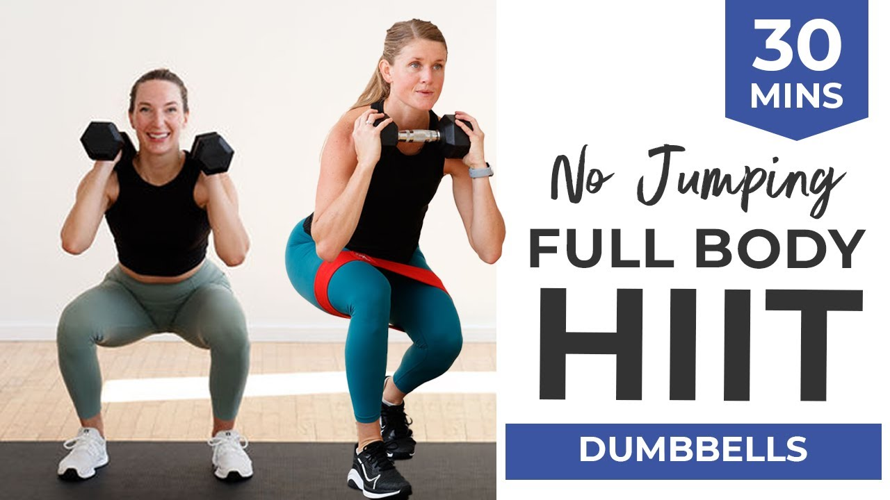 Download LIVE 30-Minute No Jumping HIIT (Full Body Workout with Dumbbells + Bands)