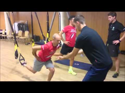 Team KATUSHA: Joaquim Rodriguez and Angel Vicioso during a TRX training