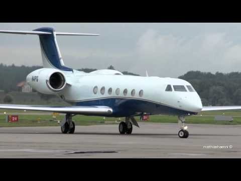 Gulfstream G550 N4PG landing at Airport Bern-Belp