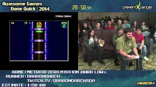 Metroid: Zero Mission :: SPEED RUN (1:09:56) (Hard Low%) by Dragondarch #AGDQ 2014 [GB Player]