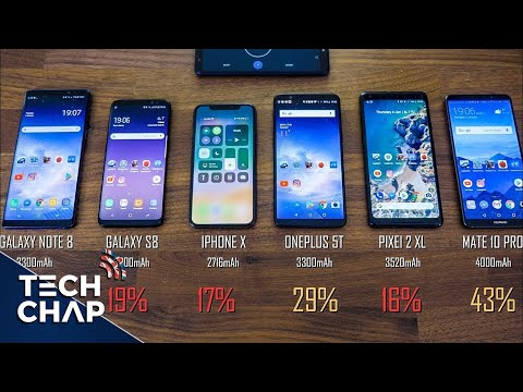 iPhone X vs Galaxy S8 vs Note 8 vs OnePlus 5T vs Mate 10 Pro - Battery Drain Test!   The Tech Chap