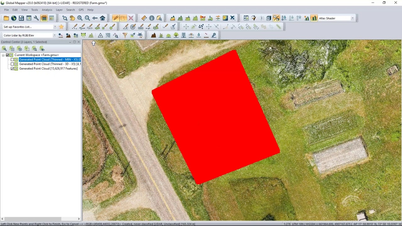 Create a 3D Model from a Point Cloud in Global Mapper