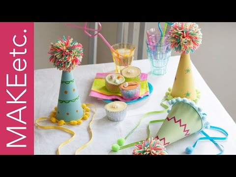 DIY How to make a pom pom party hat - Craft idea for kids' parties