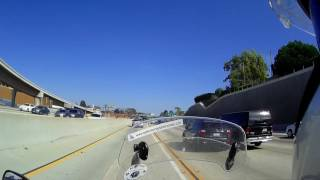 Los Angeles Freeway 405 with Airbus 380 landing to LAX
