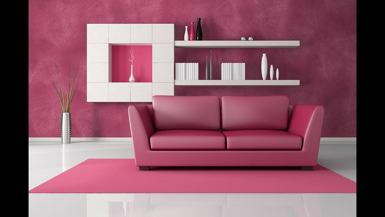 Decoracion de interiores cuadros y pinturas youtube for Pink living room wallpaper