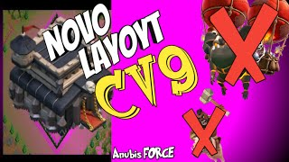 NOVO LAYOUT CV9 GUERRA! ANTI HOGS E GOLALOON! Clash of Clans