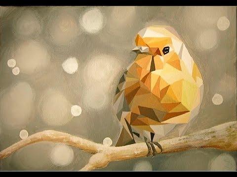 Acrylmalerei - Vogel auf Ast (Polygon Art)