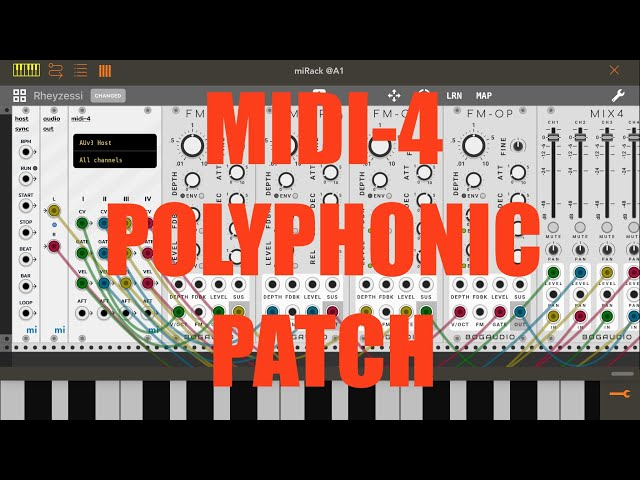 miRack AUv3 - Tutorial: Exploring the app Part 4, Midi-4 Input Polyphonic Patch