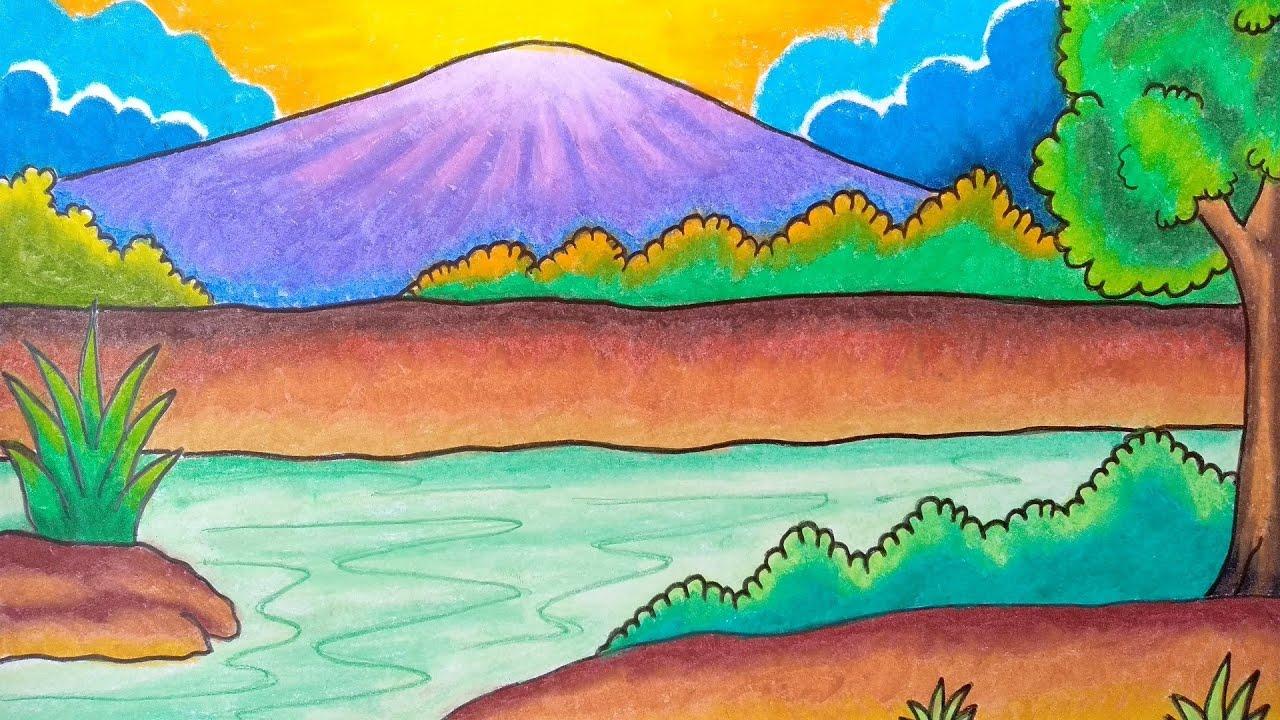 Cara Menggambar Pemandangan Alam Menggambar Dan Mewarnai Pemandangan