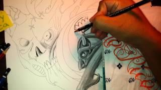 Drawing a demonic biomechanical skull on paper