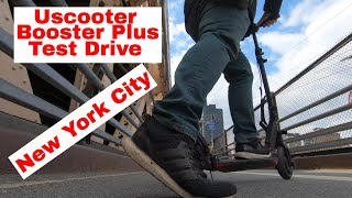 Uscooter Booster Plus Test Drive in New York City!! 240 pounds guy!