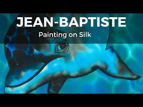 JEAN-BAPTISTE PAINTING ON SILK - Baby dolphin