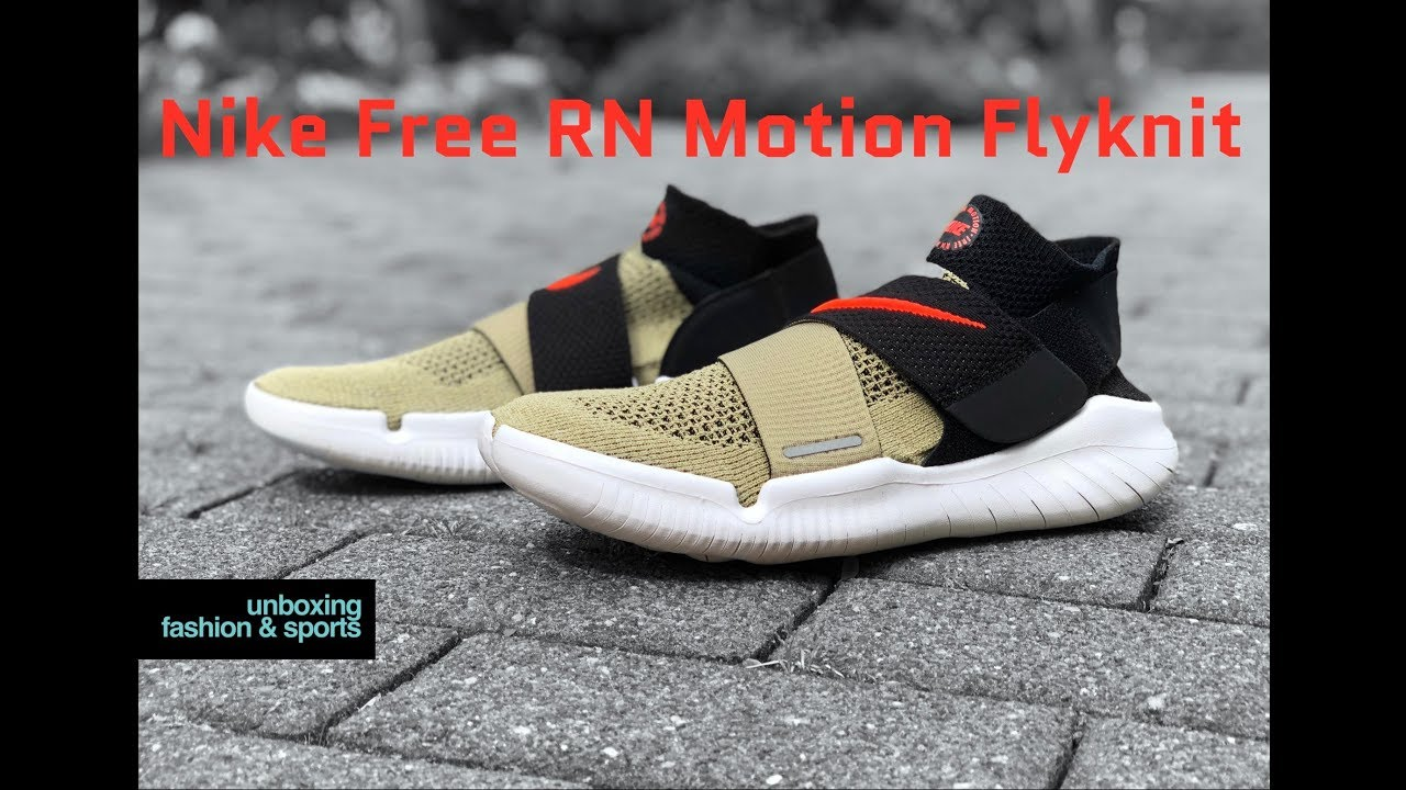 best service 71461 133ba Nike Free RN Motion Flyknit 'olive/white' | UNBOXING & ON FEET | running  shoes | 2018 | 4K