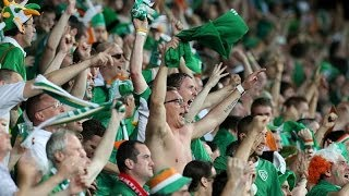 Irish fans singing to Polish police woman we love you
