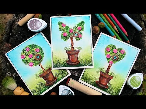 How To Make A Topiary Card With Tiny Stamps!