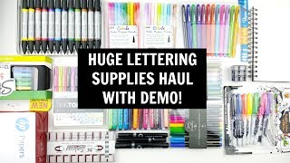 PEN HAUL with swatches 2018 | Huge Lettering Supplies and Stationery Haul with Demos