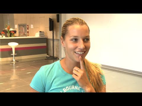 Dominika Cibulkova prepares for a game of tennis