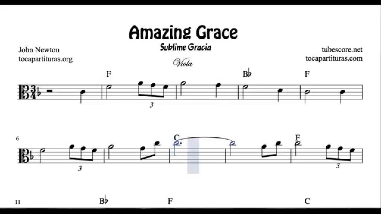 Amazing grace sheet music for viola key in c youtube hexwebz Image collections