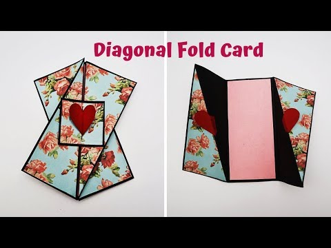 Diagonal Fold Card Tutorial | Card For Scrapbook / Explosion Box | Handmade Card