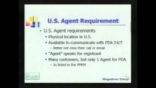U.S. FDA EXPORT REGULATIONS - Part 3: Food Labeling, Prior Notice, U.S. Agent Requirements