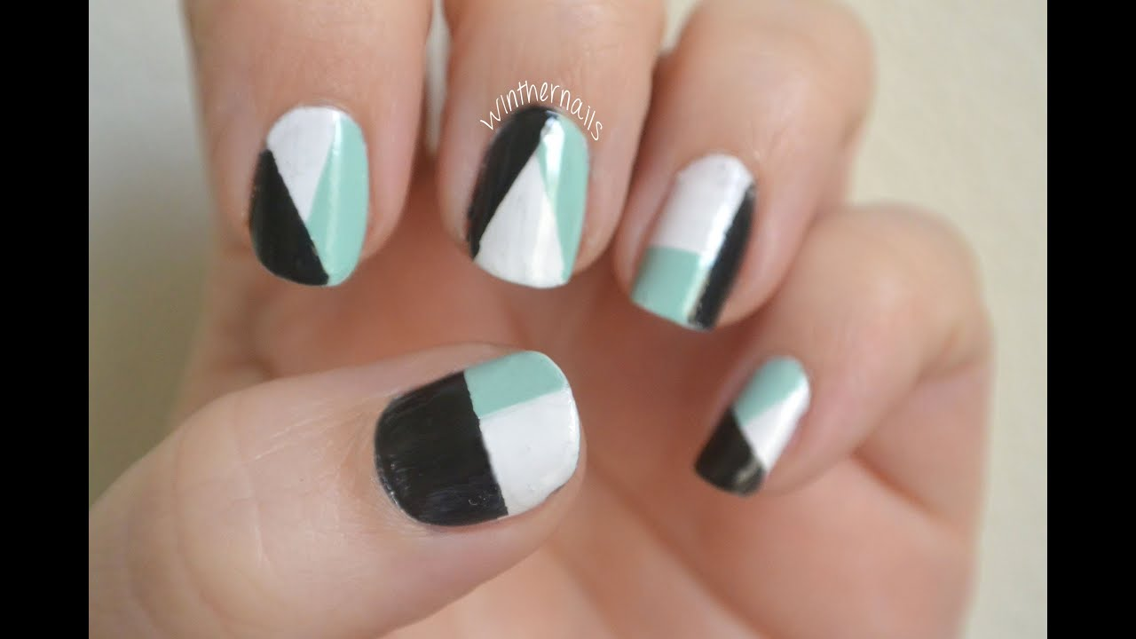Easy and Simple Nail Art - Color blocking with tape - YouTube