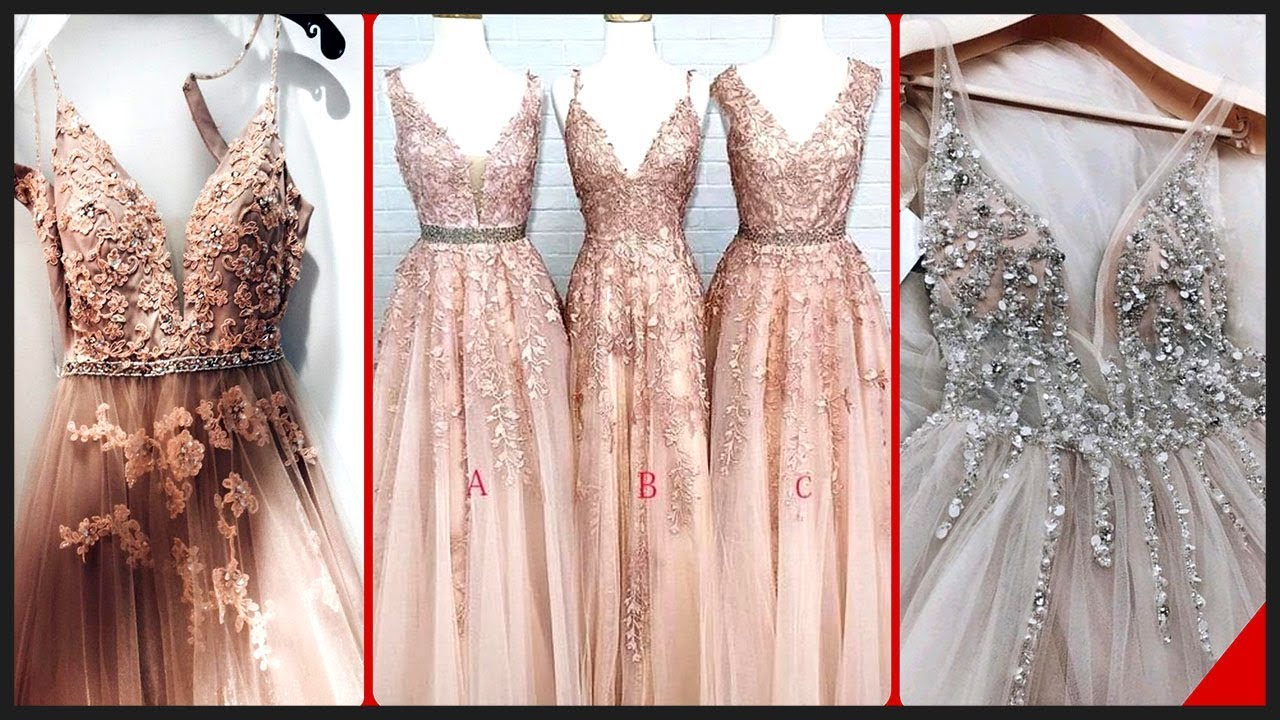 [VIDEO] - Cute Princes Style V Neck Sleeveless Long Prom Dresses 2019 2018 1