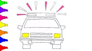 How To Draw A Police Car Coloring Pages Learn Colors For Kids