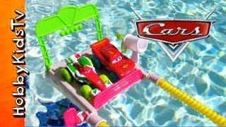 Disney CARS Pool Toys RACE! Lightning McQueen, Francesco Pixar Bath Water Car Toys HobbyKidsTV