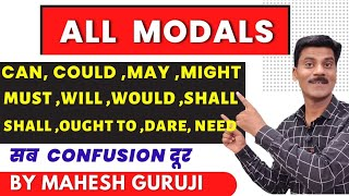 Modals in English grammar। Use of can could may might will shall would should must used to.