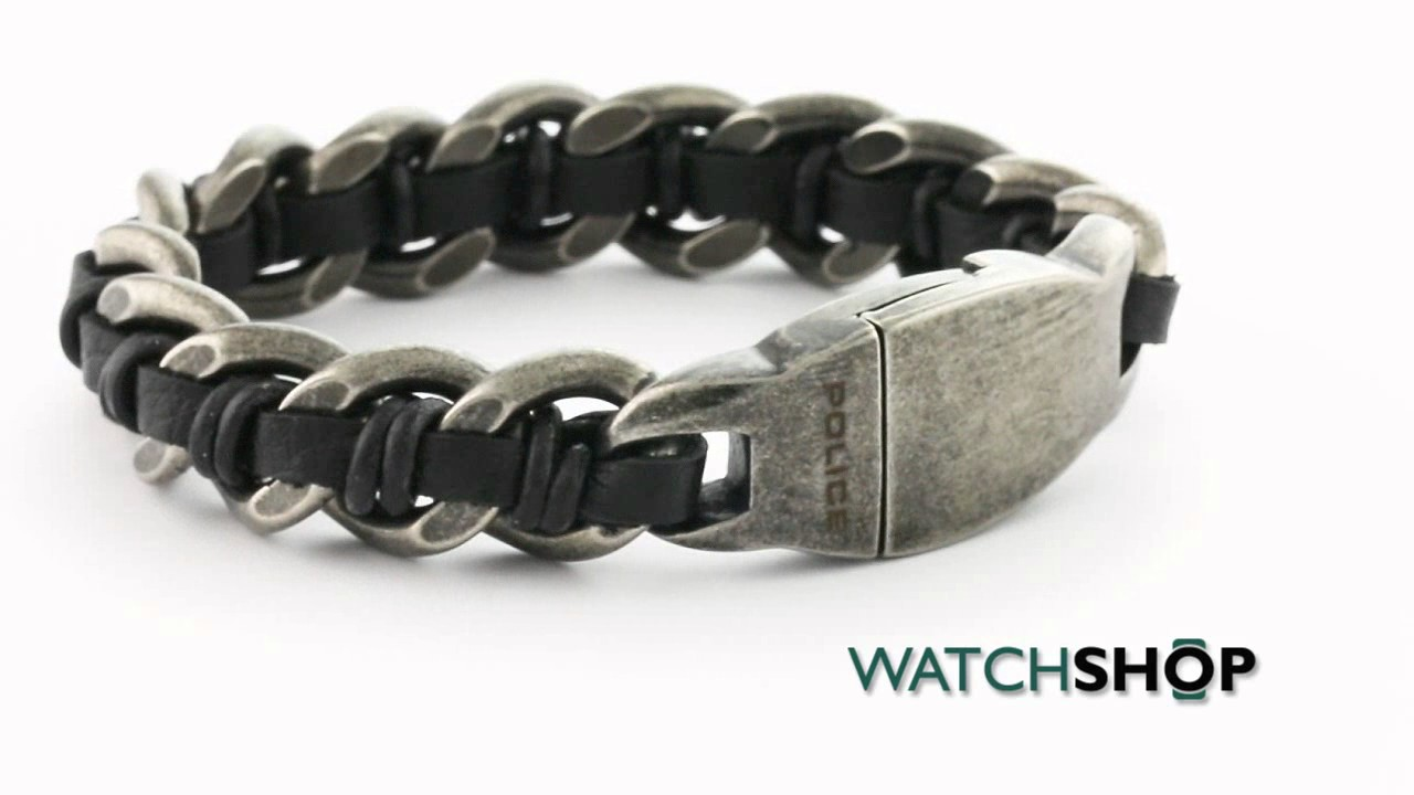 Police Jewellery Men S Stainless Steel Shock Bracelet 25600bse 01 L