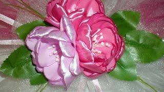 Бутоньерка на свадьбу. Свадьба в цвете Фуксии. Часть 2. / /Ribbon Flower / DIY Kanzashi