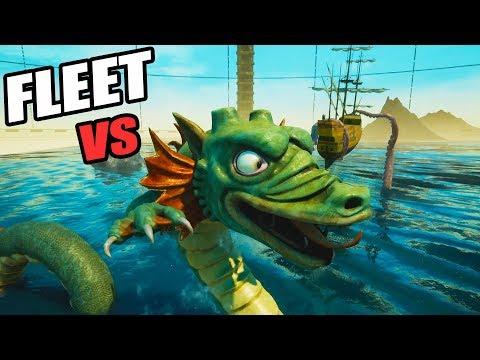 GIANT SEA MONSTER Hydra vs Huge Navy Fleet (Release the Kraken! Rock of Ages 2 Gameplay Part 4)
