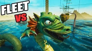 GIANT SEA MONSTER Hydra vs Huge Navy Fleet (Release the Kraken! Rock of Ages 2 Gameplay Part 4)