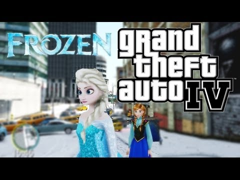 GTAIV アナと雪の女王 アナとエルサが雪のリバティーシティーへ Frozen Anna and Elsa visit in Liberty City (GTAIV MOD)