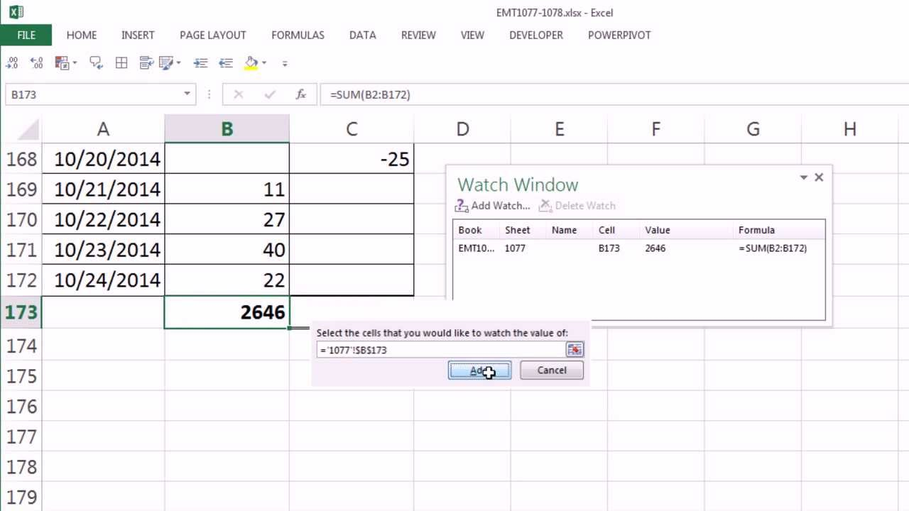 Excel Magic Trick 1077 Floating Cell In Excel Watch Window To See
