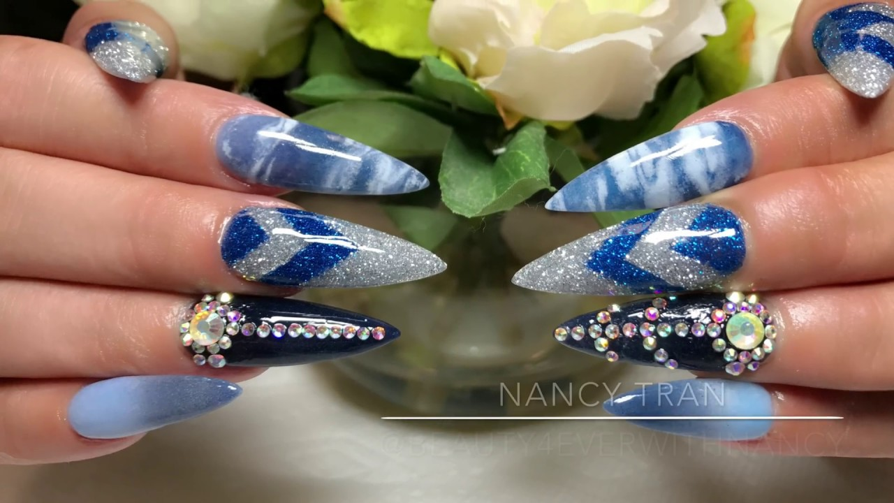 Blue Nails With Marble Design
