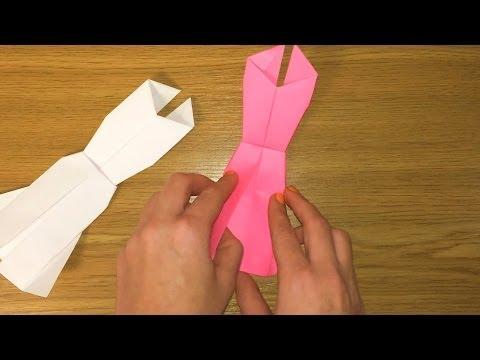 Платье из бумаги / Как сделать платье кукле из бумаги