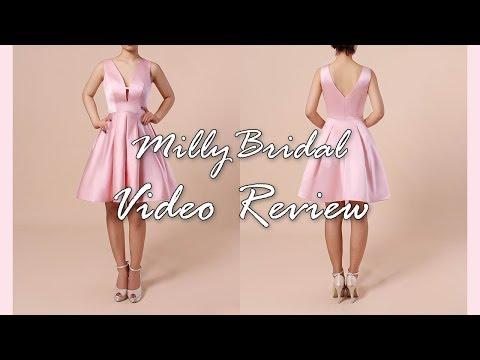 homecoming-dresses-|-affordable-a-line-v-neck-satin-short-prom-dress---millybridal-video-review